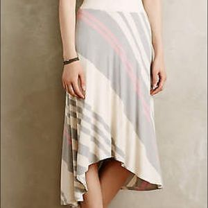 Bordeaux Anthropologie Seastripe High Low Skirt